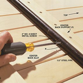 Use screws for stops on the metal pipe when you build the porch swing.