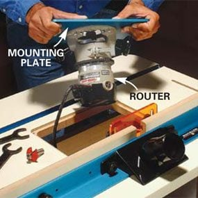 Router table tips and techniques the family handyman changing router base plate install mounting plate greentooth Choice Image