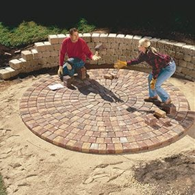 Position the center pavers