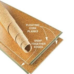 Snap-together cork planks (floating floor)