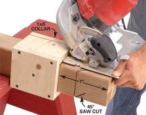 Photo 1: Cut angles with a guide collar
