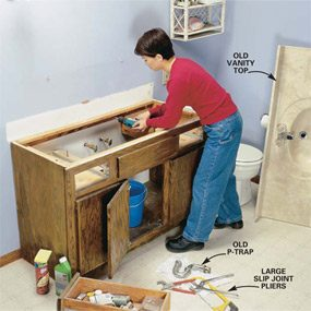 Photo 1: Remove the old vanity