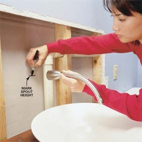 Photo 7: Mark the faucet spout height