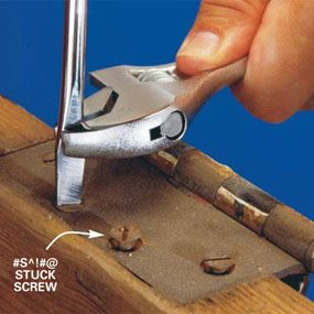 Use a wrench to help turn a screwdriver in a stuck screw.