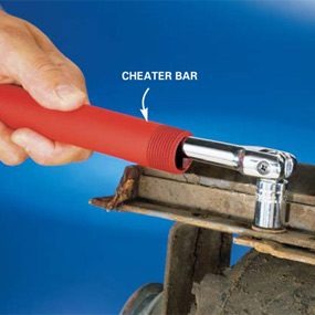 Place a pipe over your tool handle for more leverage.