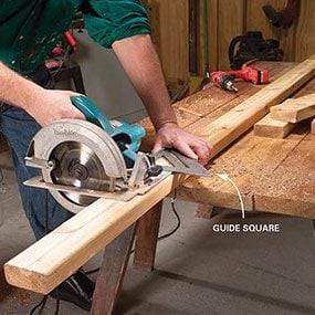 The first step in building the bench is to cut the pieces.