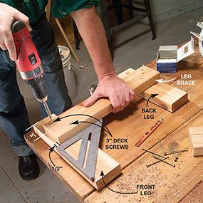 Build the leg brace assemblies for the bench.