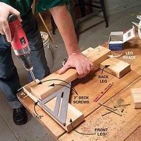 Build the leg brace assemblies for the bench.