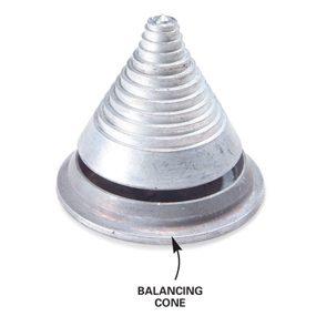 Close-up of balancing cone