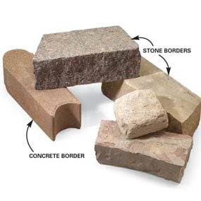 A variety of stone and concrete borders are available.