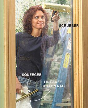 Photo 2: Scrub the glass