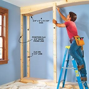 Add the 2x4 supports for the built-in bookcase.