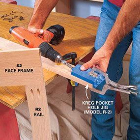 Make the face frames for the doors using a pocket hole jig.