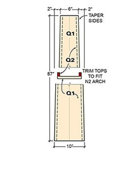 Cut tapers in the sides of the columns fronting the built-in bookcase.