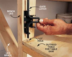 Photo 8: Set the latch for the outfeed table