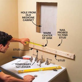 Photo 1: Attach a ledger board and mark the stud locations