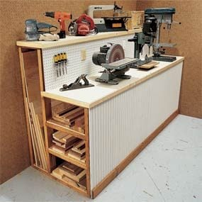 Workbench with lumber storage space