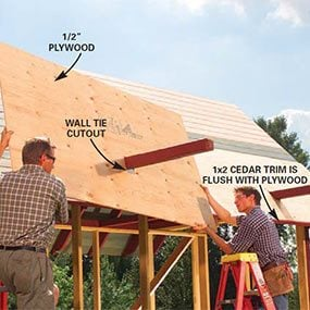 Mark out the location of the 4x4 wall ties on the 1/2-in. plywood roof sheathing