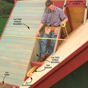 Nail 1x6 tongue-and-groove boards to the rafters