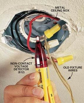 how to hang a ceiling light fixture the family handyman rh familyhandyman com wiring ceiling light fixture diagram wiring overhead light fixture 2 black 1 white