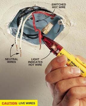 how to hang a ceiling light fixture the family handyman rh familyhandyman com wiring ceiling light uk wiring for ceiling light and fan