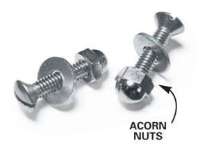 Stainless steel acorn nuts and bolts