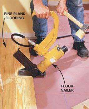 Using a floor nailer