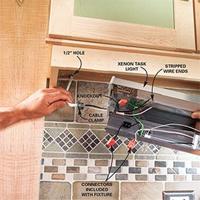 how to install under cabinet lighting in your kitchen the family rh familyhandyman com wiring under cabinet lighting new construction wire under cabinet lighting