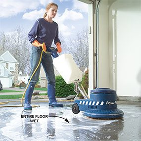 Photo 2: Use an electric floor scrubber