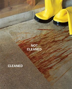 How to remove paint from concrete and other stains for Remove oil from concrete floor