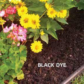 Mulch with black dye