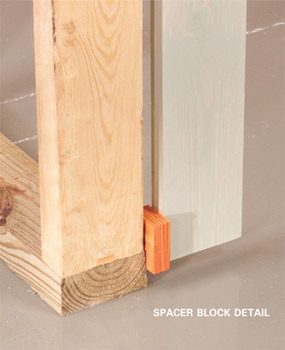 Spacer blocks hold the straightedge away from curvy studs, making it easy to plumb walls.