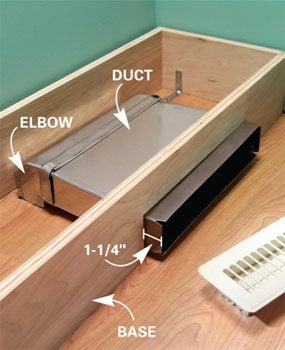 Run duct out the bottom of the cabinet base.