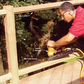 How to Build a Cedar Deck Railing With Glass
