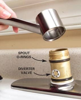 Photo 1: Remove the spout to access the o-ring seals