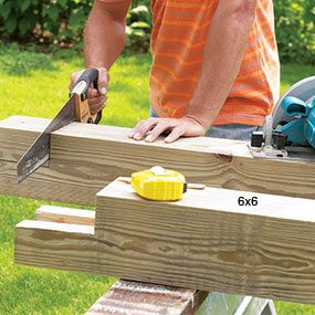 Step 1: Cut the 6x6s to length and then cut the notches in the tops with your circular saw