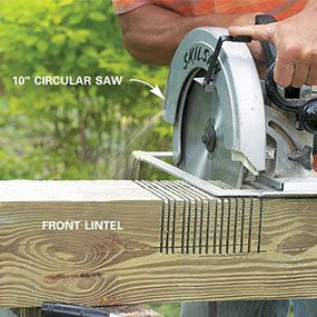 Step 6: Cut the notches in the front and back lintels with a 10-in. circular saw