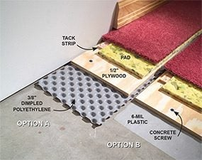 How To Carpet A Basement Floor The Family Handyman - How to install moisture barrier under laminate flooring
