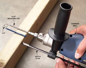 Photo 1: Adjusting depth stop on hammer drill