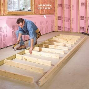 How To Frame A Basement Wall how to finish a basement: framing and insulating | family handyman