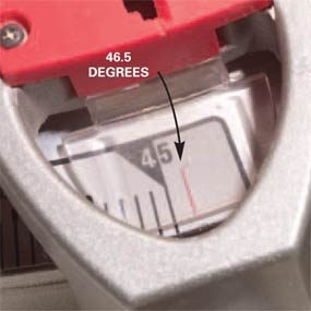 Set saw angle greater than 45 degrees.