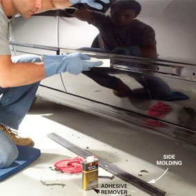 Photo 1: Clean old adhesive off the car