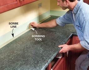 Photo 8:  Scribe the adjoining countertop