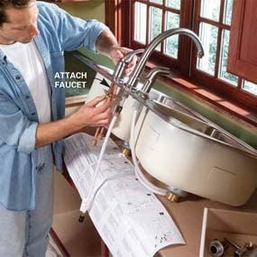 Photo 5:  Attach the faucet assembly