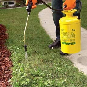 A tank sprayer best handles clumps of weeds.