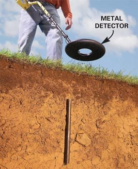 Find property stakes with a metal detector