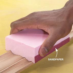 Photo 3: Adhere sandpaper to the block