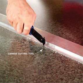 Close Up Of Carbide Cutting Tool In Use. Make A Plastic Laminate ...