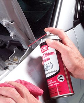 Wipe hinge area then spray with white lithium grease.