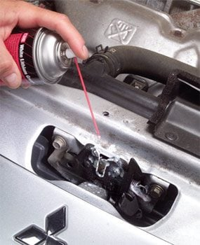 Spray lubricant and grease on clean latch